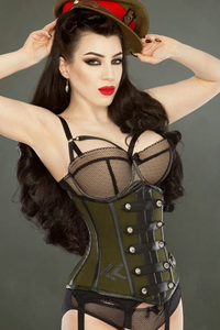 Officer Underbust Corset - olive-black