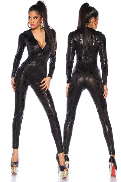 Animal Printed Wetlook Catsuit