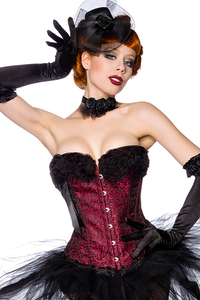 Lovely Rose Burlesque Corsage - black-red