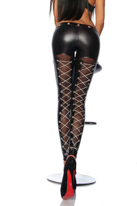 Wetlook Leggings with Net and Chains