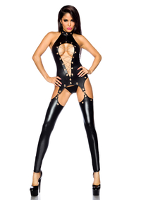 Wetlook-Straps-Set mit Ketten *Top, String, Stulpen*