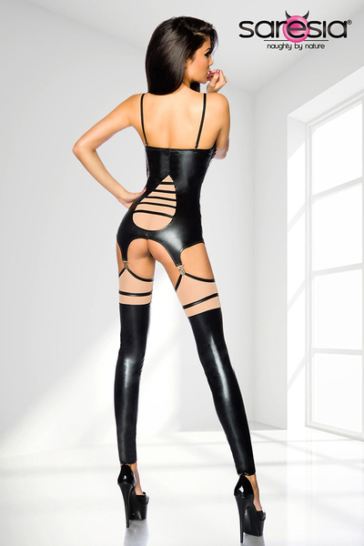 Wetlook Suspender Set with Net Panels, black-skin *Top, Thong, Stockings*