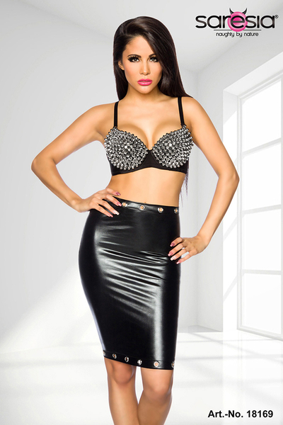 Wetlook Skirt with Cut-out and chain details