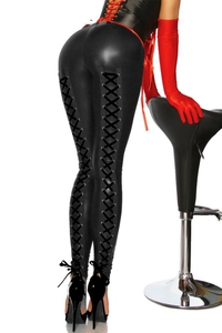 Wetlook Leggings with Lacing - Black