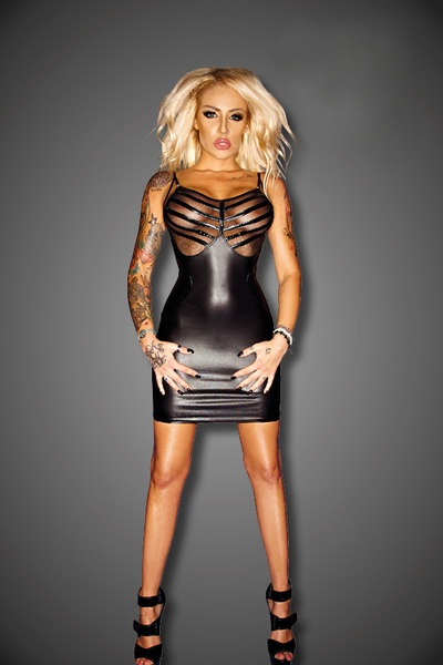 Wetlook Mini Dress with Mesh and PVC Details