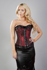 Madame Celeste Brocade Overbust Corset in Black and Red
