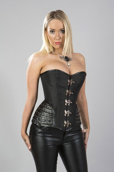Overbust Corset with Leatherette Hip Panels