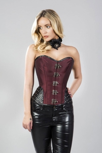 Overbust Corset with Leatherette Hip Panels - Burgundy