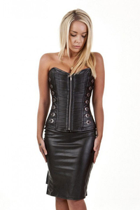 Kaizen Buckle Overbust Corset in Faux Leather