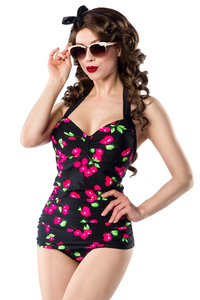 Cheryl Vintage Swimsuit with Cherry Print - Black-Pink