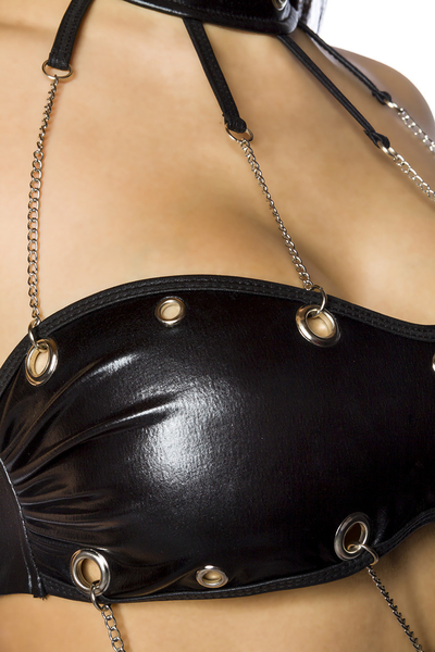 Hot Wetlook Top and Skirt Set with Eyelets and Chains