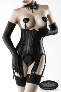 Black Satin Suspender Underbust Corsage with Gloves
