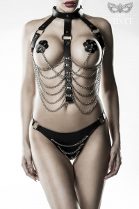 Leatherette Chain Harness Set by Grey Velvet