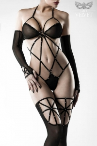 Sexy Strings Mesh Body Set with Stockings and Gloves