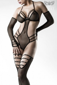 Sexy Strings Fishnet Body Set with Stockings and Gloves