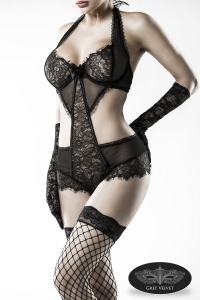 Dark Romance Lace Body Set with Stockings and Gloves
