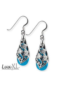 Black Ornament Turquoise  Silver Earrings