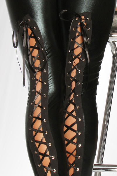 Hot Wetlook Leggings with Back Lacing
