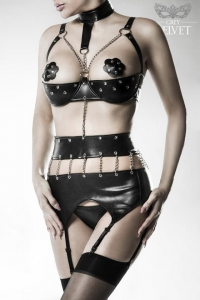Leatherette Chain Bodysuit Set by Grey Velvet