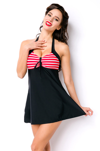 Violet Retro Swimdress - Black-Red-White