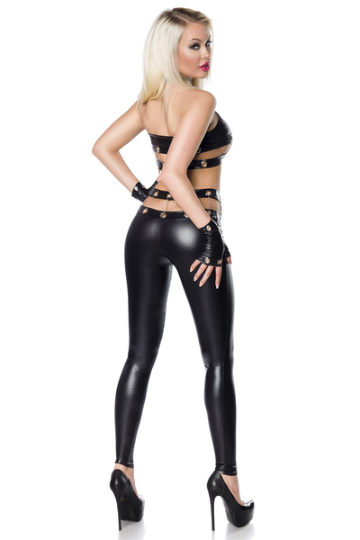 Wetlook Top and Legging Set with Gloves *Eyelets and Chains*