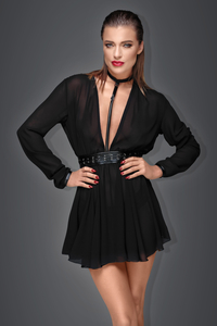 Muse - Chiffon Mini Dress with Eco-Leather Choker and Belt