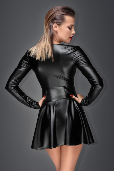 Muse - Powerwetlook Mini Dress with Corset Waist