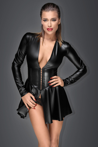 MUSE - Minikleid aus Power-Wetlook mit Korsett-Taille