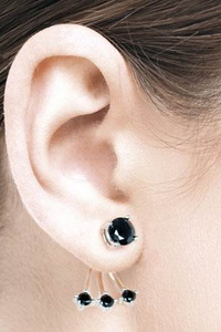 Swing Earstuds with Black Zirconia - Silver 925