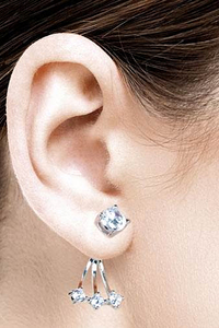 Swing Earstuds with White Zirconia - Silver 925