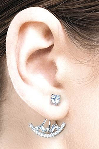 Swing Earstuds Crytal Boat with White Zirconia - Silver 925