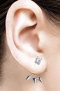 Swing Earstuds with Spikes and White Zirconia - Silver 925