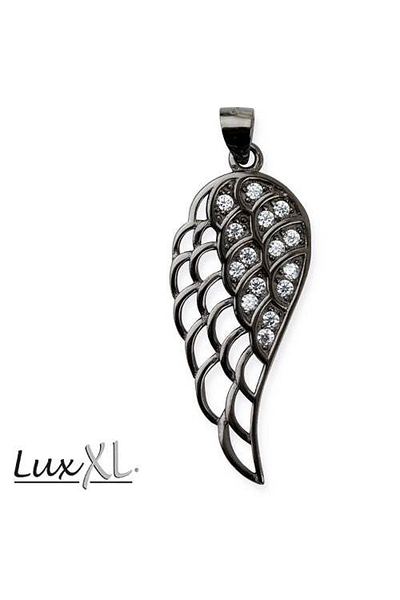 Wing Pentagram Pendant with White Zirconia and Black Rhodium - Silver 925
