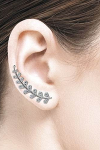 Leaf Line Eastuds with White Zirconia - Silver 925