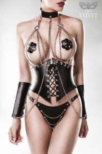 Leatherette Chain Corsage Set by Grey Velvet