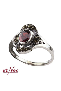 Silver Ring with Red Zirconia + Marcasite