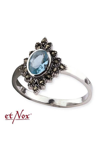 Silver Ring with Blue Zirconia + Marcasite