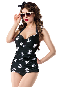 intage Swimsuit with Anchor Print - Black-White
