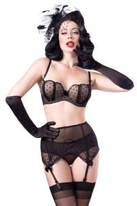 Tulle Bra Set by Belsira - Black/Nude