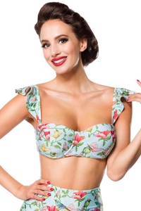 Vintage Retro Bikini Top with Floral Pattern -...