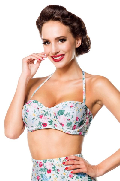 Vintage Retro Bikini Top with Floral Pattern - Green-Pink-Yellow