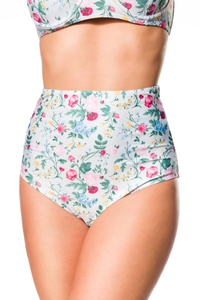 Retro Highwaist Bikini Panty with Floral Print -...
