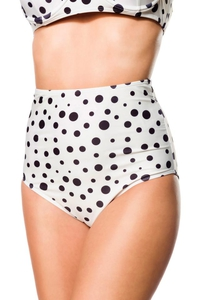 Retro Highwaist Bikini Panty with Dot Pattern - Cream-Black