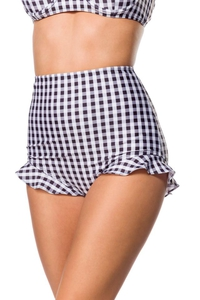 Retro Highwaist Bikini Panty with Frill and Vichy Check...