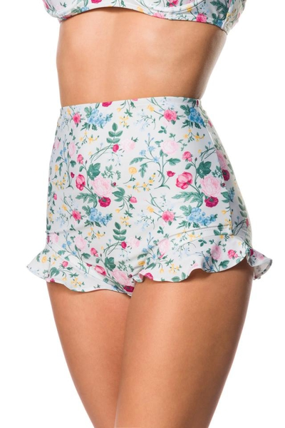 Retro Highwaist Bikini Panty with Frill and Floral Pattern - Green-Pink-Yellow