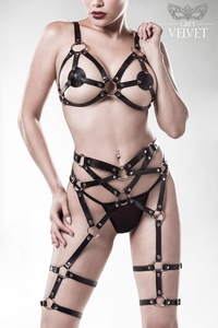 Erotik-Harness-Set in Lederoptik von Grey Velvet - 3-teilig