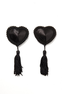 Black Heart-shaped Nipple Covers with Tassel