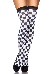 Black-White Check Overknee Stockings
