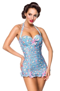 Vintage Rose Retro Swimsuit - Blue-Pink-White
