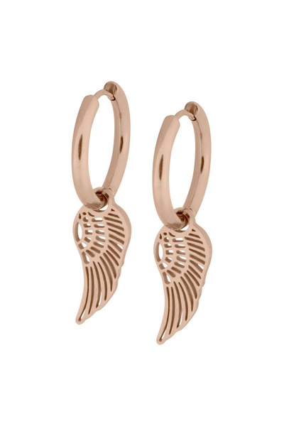 Little Angel Wing - Hoops aus rosegoldenem Stahl